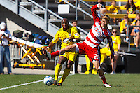 28 AUGUST 2010:  Emilio Renteria of the Columbus Crew (20) and FC Dallas' Brek Shea (20) during MLS soccer game between FC Dallas vs Columbus Crew at Crew Stadium in Columbus, Ohio on August 28, 2010.