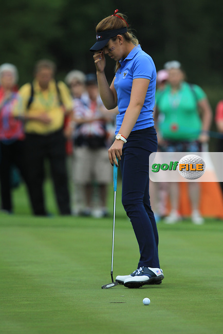 Hannah O'Sullivan on the 16th during the Friday morning Foursomes of the 2016 Curtis Cup at Dun Laoghaire Golf Club on Friday 10th June 2016.<br /> Picture:  Golffile   Thos Caffrey