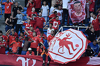 CALI - COLOMBIA, 21-04-2019: Hinchas del América animan a su equipo durante partido por la fecha 17 de la Liga Águila I 2019 entre América de Cali y Millonarios jugado en el estadio Pascual Guerrero de la ciudad de Cali. / Fans of America cheer for their team during match for the date 17 as part of Aguila League I 2019 between America Cali and Millonarios played at Pascual Guerrero stadium in Cali. Photo: VizzorImage / Gabriel Aponte / Staff
