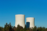 Industrial cooling towers.