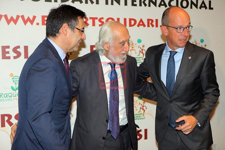XIV Sopar Solidari de Nadal.<br /> Esport Solidari Internacional-ESI.<br /> Josep M. Bartomeu, Josep Maldonado & Jordi Cardoner.