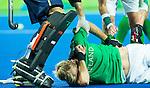 RIO DE JANEIRO  (Brazili&euml;) - Blessure voor Conor Harte (Ir)  tijdens de poulewedstrijd hockey heren Nederland-Ierland (5-0) , tijdens de Olympische Spelen <br /> FOTO KOEN SUYK