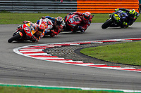 3rd November 2019; Sepang Circuit, Sepang Malaysia; MotoGP Malaysia, Race Day;  Marc Marquez, Jack Miller, Andrea Dovizioso, Valentino Rossi leads into the corner - Editorial Use