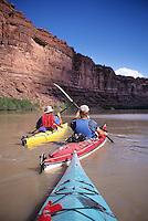 Sea kayaking on the Green River, Canyonlands National park, Utah