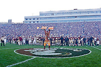 November 27, 2010:    Florida State Seminoles mascot Chief Osceola stands with his spear at center field during pre game ceremonies before the game between the ACC Conference Florida State Seminoles and the SEC Conference University of Florida Gators at Doak Campbell Stadium in Tallahassee, Florida.