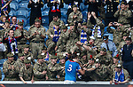 Bilel Mohsni goes over to the troops after the match