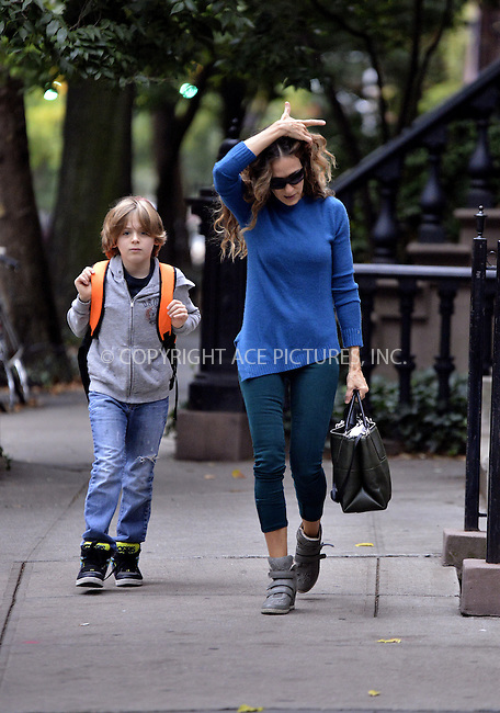 WWW.ACEPIXS.COM<br /> <br /> October 7 2013, New York City<br /> <br /> Actress Sarah Jessica Parker takes her son James Broderick to school in the West Village on October 7 2013 in New York City<br /> <br /> By Line: Curtis Means/ACE Pictures<br /> <br /> <br /> ACE Pictures, Inc.<br /> tel: 646 769 0430<br /> Email: info@acepixs.com<br /> www.acepixs.com