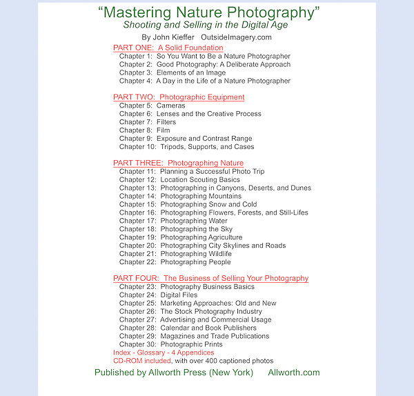 Table of Contents, Mastering Nature Photography by John Kieffer.<br />