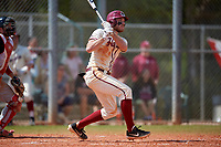 Saint Joseph's Hawks third baseman Nate Thomas (11) bats during a game against the Ball State Cardinals on March 9, 2019 at North Charlotte Regional Park in Port Charlotte, Florida.  Ball State defeated Saint Joseph's 7-5.  (Mike Janes/Four Seam Images)