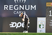 Tommy Fleetwood (ENG) tees off the 18th tee during Friday's Round 2 of the 2018 Turkish Airlines Open hosted by Regnum Carya Golf &amp; Spa Resort, Antalya, Turkey. 2nd November 2018.<br /> Picture: Eoin Clarke | Golffile<br /> <br /> <br /> All photos usage must carry mandatory copyright credit (&copy; Golffile | Eoin Clarke)