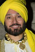 Indian Man with yellow turban at Diwali celebrations in London