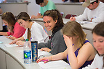 Students in George S. Haymans' business law class ace their final. Photo by Kevin Bain/University Communications Photography.