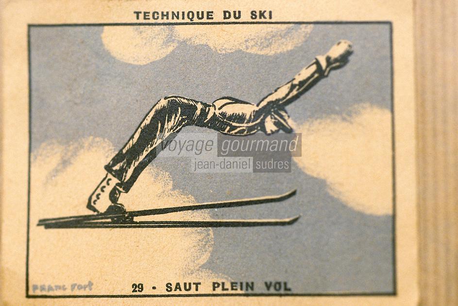 Europe/France/Rhône-Alpes/74/Haute-Savoie/Megève: Musée du Haut-Val-d'Arly dans une ancienne ferme (arts et traditions populaires) - Ancienne illustration des techniques de ski