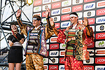 Warren Braguil and Marcel Kittel dressed as Samurai on stage before the Tour de France Saitama Crit&eacute;rium 2017 held around the streets os Saitama, Japan. 3rd November 2017.<br /> Picture: ASO/Pauline Ballet | Cyclefile<br /> <br /> <br /> All photos usage must carry mandatory copyright credit (&copy; Cyclefile | ASO/Pauline Ballet)