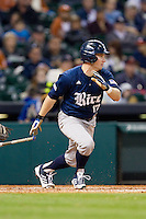 Keenan Cook #17 of the Rice Owls follows through on his swing against the Texas Longhorns at Minute Maid Park on February 28, 2014 in Houston, Texas.  The Longhorns defeated the Owls 2-0.  (Brian Westerholt/Four Seam Images)