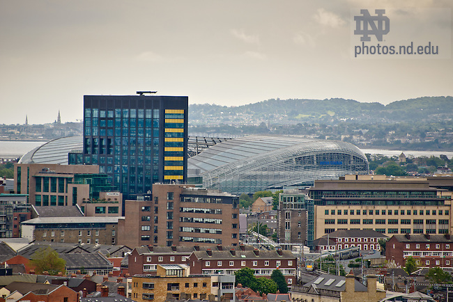 Dublin: Google headquarters (dark building) and Aviva Stadium..Photo by Matt Cashore/University of Notre Dame