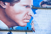A mural being painted on a building on 23rd Street and Park Avenue in Manhattan for Will Ferrell's new movie, The Campaign.