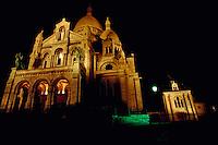 Sacre Coeur at Montmartre, lit up at night, Paris, France