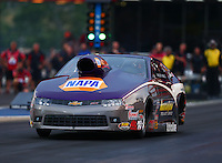 Jun 19, 2015; Bristol, TN, USA; NHRA pro stock driver Vincent Nobile during qualifying for the Thunder Valley Nationals at Bristol Dragway. Mandatory Credit: Mark J. Rebilas-