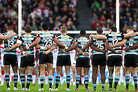 Picture by Alex Whitehead/SWpix.com - 01/05/2014 - Rugby League - First Utility Super League - St Helens v London Broncos - Langtree Park, St Helens, England - London players observe a minutes silence.