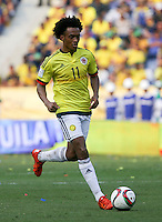 BARRANQUILLA - COLOMBIA -29-03-2016: Juan Cuadrado durante el encuetnro con Ecuador de la fecha 6 para la clasificación a la Copa Mundial de la FIFA Rusia 2018 jugado en el estadio Metropolitano Roberto Melendez en Barranquilla./  Juan Cuadrado player of Colombia in action during a match against Ecuador of the date 6 for the qualifier to FIFA World Cup Russia 2018 played at Metropolitan stadium Roberto Melendez in Barranquilla. Photo: VizzorImage / Ivan Valencia / Cont