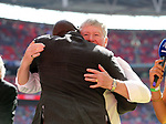 Sol Campbell hugs Pat Rice before  the Emirates FA Cup Final match at Wembley Stadium, London. Picture date: May 27th, 2017.Picture credit should read: David Klein/Sportimage