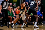 18 December 2019: University of North Carolina Greensboro Spartan Guard Malik Massey, a Senior from Charlotte, NC, in first half action against the University of Vermont Catamounts at Patrick Gymnasium in Burlington, Vermont. The Spartans edged out the Catamounts 54-53 in the final minutes of play. Mandatory Credit: Ed Wolfstein Photo *** RAW (NEF) Image File Available ***