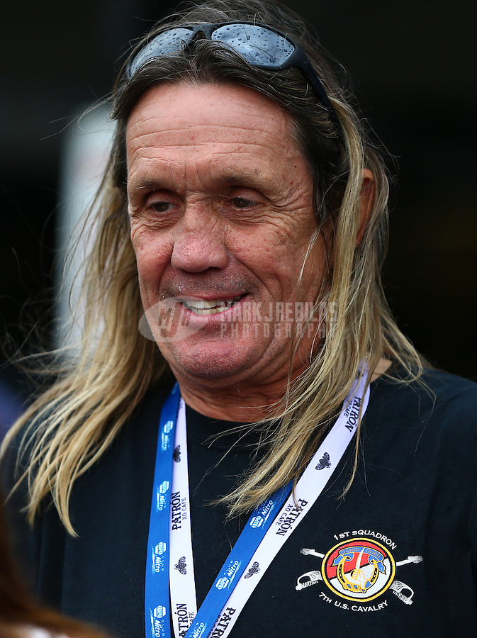 Jun 20, 2015; Bristol, TN, USA; Iron Maiden drummer Nicko McBrain in attendance of NHRA qualifying for the Thunder Valley Nationals at Bristol Dragway. Mandatory Credit: Mark J. Rebilas-