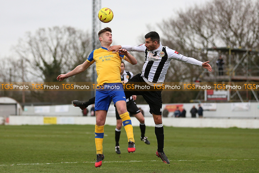Philip Anderson of Heybridge and Ross Wall of Hornchurch during Heybridge Swifts vs AFC Hornchurch, Ryman League Division 1 North Football at The Texo Stadium, Scraley Road on 25th February 2017