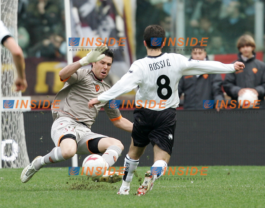 Alexander Doni saves on Giuseppe Rossi<br /> Alexander Doni para in uscita su Giuseppe Rossi<br /> Italian &quot;Serie A&quot; 2006-07<br /> 11 Feb 2007 (Match Day 23)<br /> Roma-Parma (3-0)<br /> &quot;Olimpico&quot;-Stadium-Roma-Italy<br /> Photographer: Andrea Staccioli INSIDE