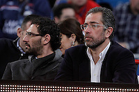 Spanish national basketball team coach Juan Antonio Orenga (r) and the basketball star Jorge Garbajosa  during Spanish Basketball King's Cup match.February 07,2013. (ALTERPHOTOS/Acero) /NortePhoto