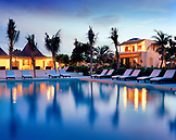 MEXICO, Maya Riviera, swimming pool at night, Esencia Hotel and Villas