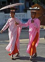 Nuns on the street of Rangoon, Burma, Nov 2008.