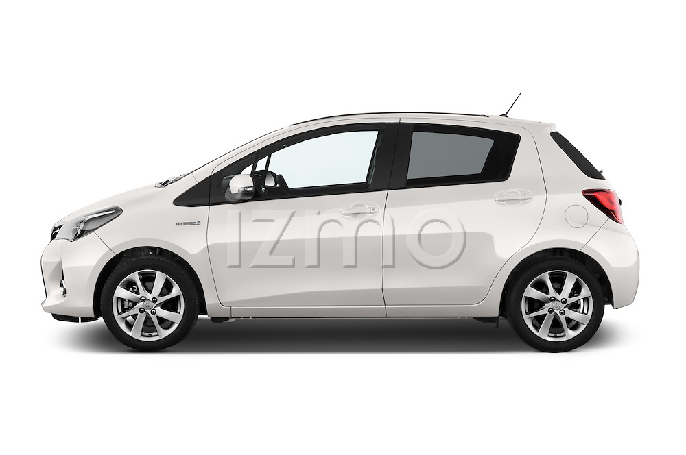 Car Driver side profile view of a 2015 Toyota Yaris Hybride Lounge 5 Door Hatchback 2WD Side View
