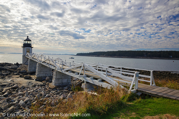 Marshall Point Lighthouse in Port Clyde, Maine USA during the month of November. The first lighthouse at Marshall Point was built in 1832.
