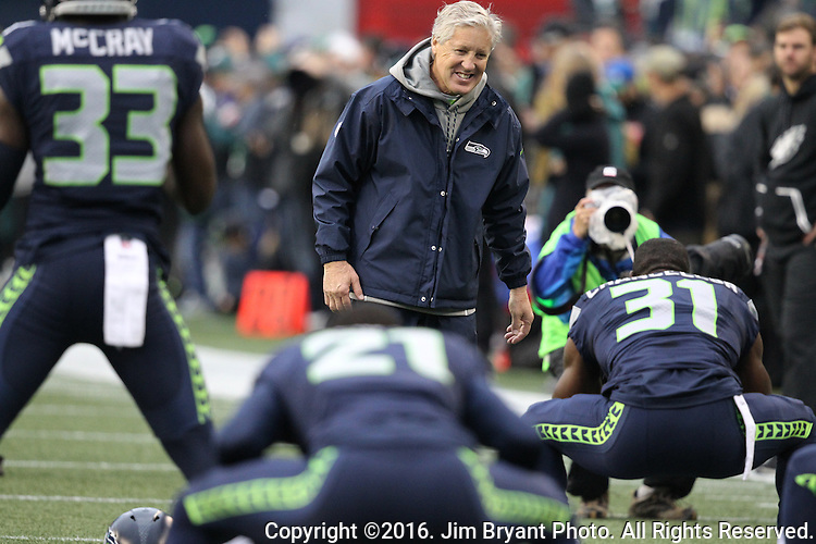 Seattle Seahawks head coach Pete Carroll fires his defensive backs up  during warm ups   before their game against the Philadelphia Eagles at CenturyLink Field in Seattle, Washington on November 20, 2016.  Seahawks beat the Eagles 26-15.  ©2016. Jim Bryant Photo. All Rights Reserved.