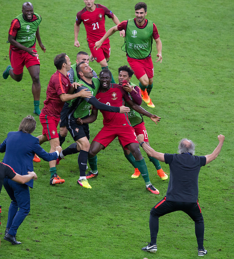 Portugal's Eder (centre) celebrates scoring the opening goal with team mates<br /> <br /> Photographer Craig Mercer/CameraSport<br /> <br /> International Football - 2016 UEFA European Championship - Final - Portugal v France - Sunday 10th July 2016 - Stade de France - Saint-Denis - Paris - France<br /> <br /> World Copyright &copy; 2016 CameraSport. All rights reserved. 43 Linden Ave. Countesthorpe. Leicester. England. LE8 5PG - Tel: +44 (0) 116 277 4147 - admin@camerasport.com - www.camerasport.com