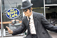 Elwood Blues statue at the Blues Brothers Cafe singing and dancing.  Indian Rocks Beach Tampa Bay Area Florida USA