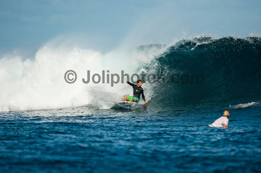 CLOUDBREAK, Namotu Island/Fiji (Monday, June 10, 2013) Julian Wilson (AUS) free surfing while waiting for the call.- After checking conditions at Cloudbreak  this morning, event officials at the Volcom Fiji Pro put the contest on hold a number of times through the day. The last call was made at 2 pm before it was called off for the day. <br /> Stop No. 4 of 10 on the ASP World Championship Tour (WCT), the Volcom Fiji Pro has enjoyed flawless conditions at both Cloudbreak and Restaurants and the current forecast is showing signs of more excellent surf to come.<br /> Photo: joliphotos.com