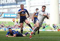 George Ford of Bath Rugby runs in a try. European Rugby Champions Cup quarter final, between Leinster Rugby and Bath Rugby on April 4, 2015 at the Aviva Stadium in Dublin, Republic of Ireland. Photo by: Matt Impey for Onside Images