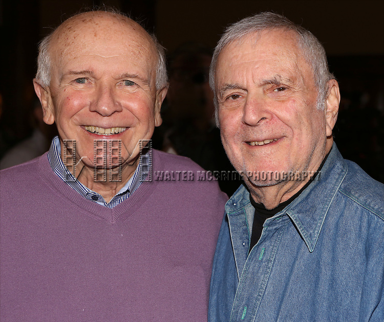 Terrence McNally and John Kander from 'The Visit' attend a photo call at The Lyceum Theater on March 24, 2015 in New York City.
