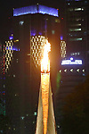 The torch, <br /> AUGUST 18, 2018 - Opening Ceremony : <br /> Opening Ceremony <br /> at Gelora Bung Karno Main Stadium <br /> during the 2018 Jakarta Palembang Asian Games <br /> in Jakarta, Indonesia. <br /> (Photo by Naoki Nishimura/AFLO SPORT)