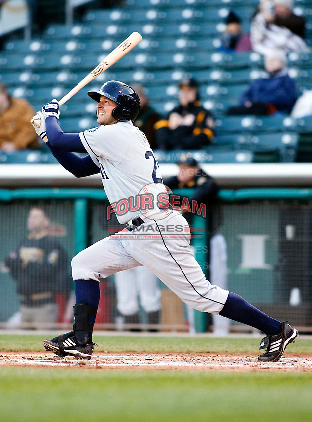 Tacoma Rainiers infielder Josh Bard #25 during a game vs. Salt Lake Bees on April 26, 2011 at Spring Mobile Ballpark in Salt Lake City, Utah . Salt Lake Bees were defeated by Tacoma 8-4.  Photo By Matthew Sauk/Four Seam Images