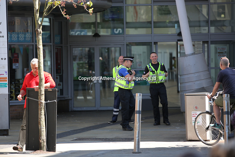 Pictured: The bus station entrance which is closed by police Wednesday 24 May 2017<br /> Re: The Quadrant shopping centre in Swansea has been evacuated following reports of a suspicious package being found.<br /> The bus station and Swansea Indoor Market have also been closed as part of the evacuation.