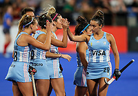 Argentina celebrate a goal during the shoot out during the Pro League Hockey match between the Blacksticks women and Argentina, Nga Punawai, Christchurch, New Zealand, Friday 28 February 2020. Photo: Simon Watts/www.bwmedia.co.nz
