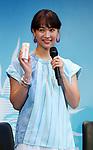 """February 20, 2018, Tokyo, Japan - Japanese female singer Miki Fujimoto poses for photo at a presentation of Japanese cosmetics giant Shiseido's sunblock cosmetics """"Anessa"""" in Tokyo on Tuesday, February 20, 2018.    (Photo by Yoshio Tsunoda/AFLO) LWX -ytd-"""