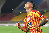 Gianluca Lapadula of US Lecce celebrates after scoring the goal of 1-0 during the Serie A football match between US Lecce and Brescia Calcio at Via del Mare stadium in Lecce ( Italy ), July 22th, 2020. Play resumes behind closed doors following the outbreak of the coronavirus disease. <br /> Photo Carmelo Imbesi / Insidefoto