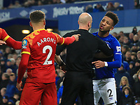 23rd  November 2019; Goodison Park , Liverpool, Merseyside, England; English Premier League Football, Everton versus Norwich City; Mason Holgate of Everton argues with Max Aarons of Norwich City - Strictly Editorial Use Only. No use with unauthorized audio, video, data, fixture lists, club/league logos or 'live' services. Online in-match use limited to 120 images, no video emulation. No use in betting, games or single club/league/player publications