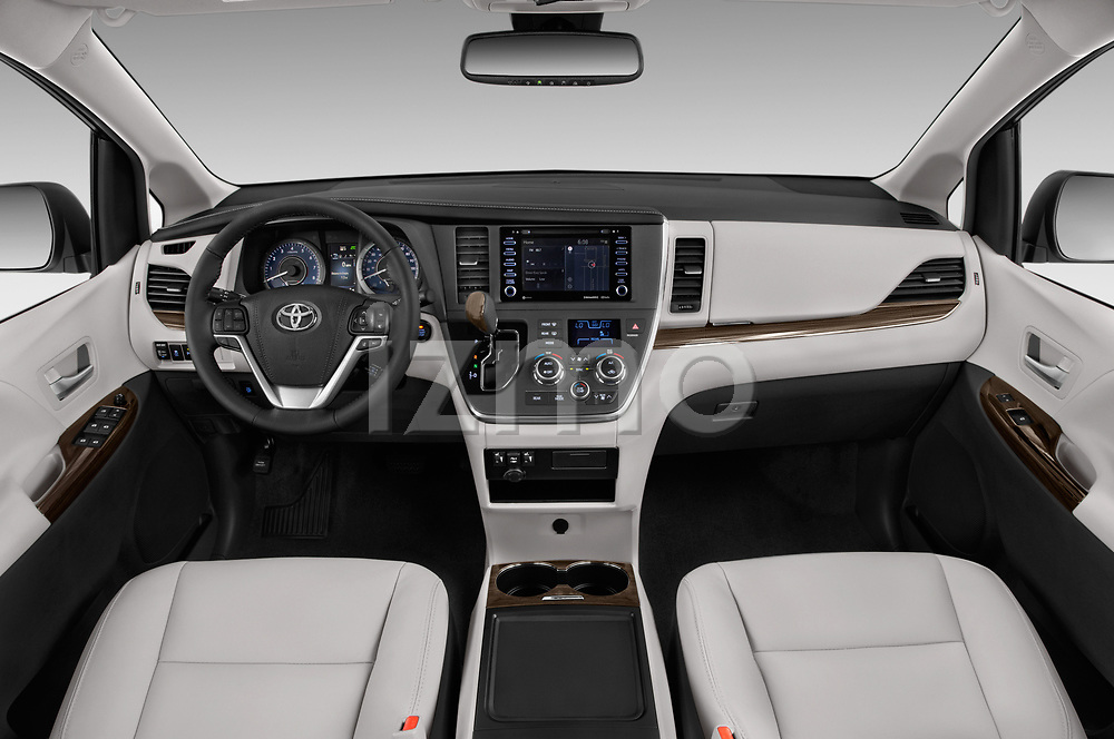Stock photo of straight dashboard view of a 2020 Toyota Sienna XLE 5 Door Mini Van