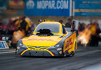 Sep 13, 2019; Mohnton, PA, USA; NHRA funny car driver J.R. Todd during qualifying for the Keystone Nationals at Maple Grove Raceway. Mandatory Credit: Mark J. Rebilas-USA TODAY Sports